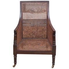 Regency Caned Mahogany Library Chair