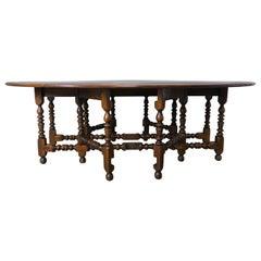 English Walnut Gate-Leg Drop-Leaf Table