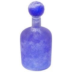Cenedese Murano Glass Blue Scavo Style Decanter
