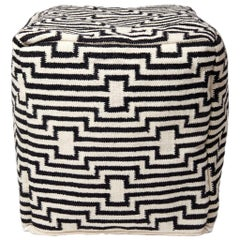 Optical Stripped Black and White Ottoman Pouf