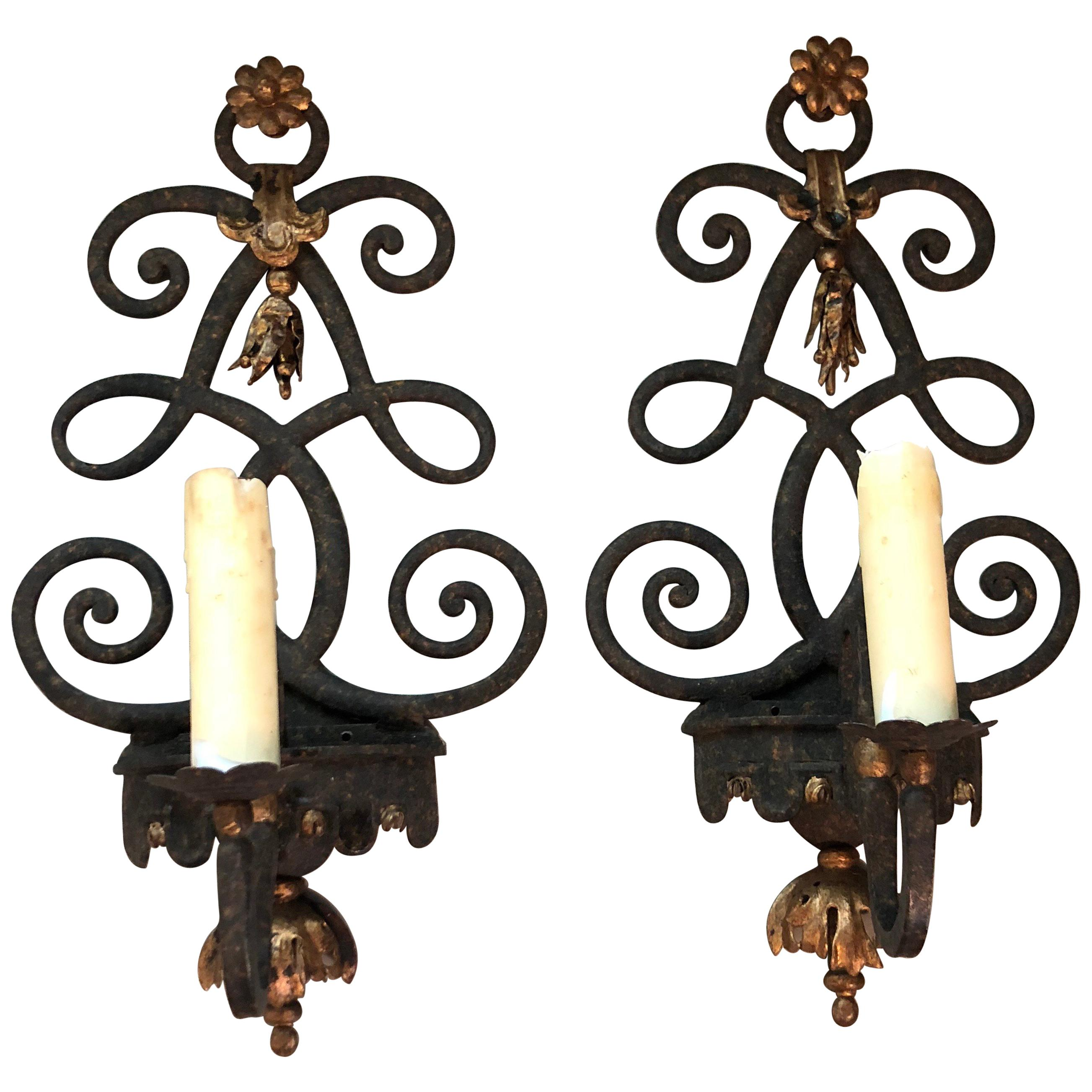 Pair of Antique Style Patinated Iron Sconces