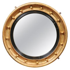 19th Century English Giltwood Bullseye / Convex Mirror with Ebonized Detail