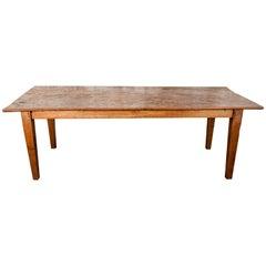 Old Teak Farm Table, Java, Hand Hewn Single Plank Top, Mid-20th Century