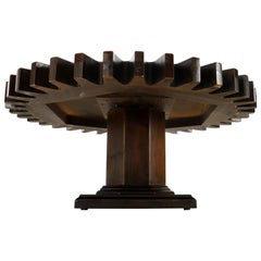 Thick Wooden Huge Round Gear Shape Top Coffee Table