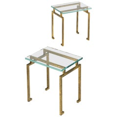 Pair of French Mid-century Gilt Iron Side Tables, Maison Ramsay