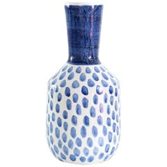 Scandinavian Modern Blue and White Spotted Vase Designed by Vicke Lindstrand