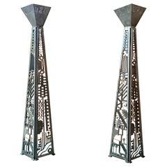 Massive Modernist Steel Torchere a Pair