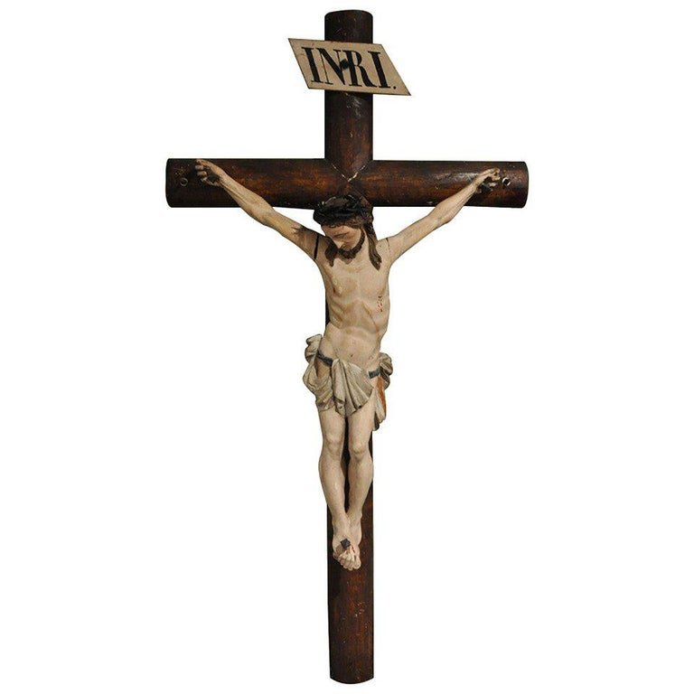 19th Century French Hand Carved Polychrome and Painted Life-Size Crucifix For Sale