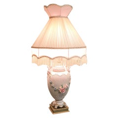 Large Lace Porcelain Lamp with Cherubs