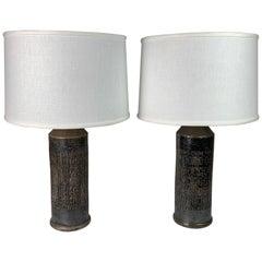 Pair of Black Bitossi Lamps, Italy, 1970