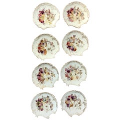 Eight Royal Worcester Aesthetic Cabinet Plates with Spider Web Decoration
