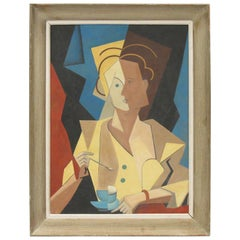 Cubist Gouache on Board Painting, Woman with Cup of Coffee