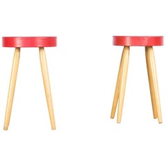 Midcentury Set Red Seated Stool Set of 2