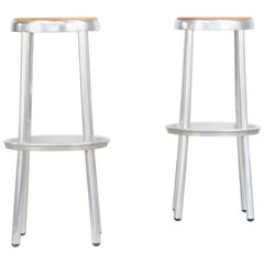 Midcentury Aluminium Framed Wooden Seated Stools Set of 2