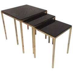 20th Century French Gilted Brass and Black Glass Gigognes Tables