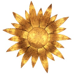 Gilt Metal Sunflower Sunburst Wall Sconce or Ceiling Light Fixture, Spain, 1960s
