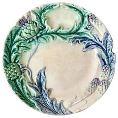 Majolica Asparagus Plate Fives Lille, circa 1890