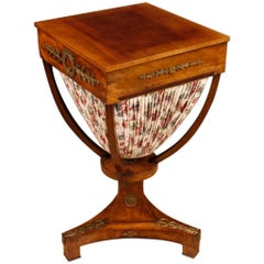 19th Century Mahogany Wood and Fabric Antique French Sewing Table, 1880