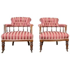 Pair of Salon Chairs, English, Edwardian, Scroll Back Armchairs, circa 1910
