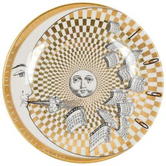 Piero Fornasetti White and Golden Calendar Plate, 1999