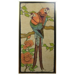 Mid-Century Modern Framed Print on Linen with Two Ara's, Parrots in a Tree