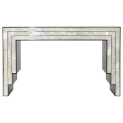 Escalier Console with Gypsum, Wooden Veneer and Nickel Detailing