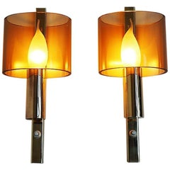 Pair of Wall Sconces Made in Brass and Plexiglas - Danish Vintage Design, 1960s