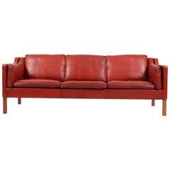 Børge Mogensen Three-Seat Sofa, Model 2213, Original Red Bull Leather