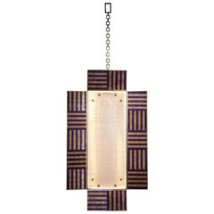 Ultra Violet Wall Sconce Handcrafted from Murano Glass and Straw Marquetry