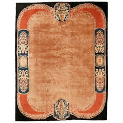 Open Field Chinese Art Deco Rug with Architectural Border