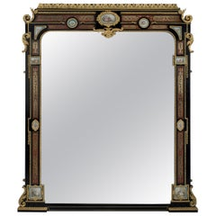 Fine Ebonised and Boulle Inlaid Overmantel Mirror, circa 1860