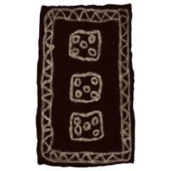 Vintage Primitive Anatolian Black Wool Felt Rug
