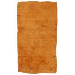 Vintage Minimalist Anatolian Orange Tulu Rug