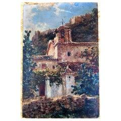 18th Century Baroque Sanctuary Oil on Panel, Spain