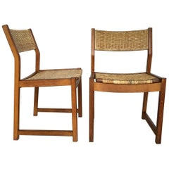 Set of Two Danish Oak Chairs with Wicker Seats from Søborg Møbelfabrik, 1950s