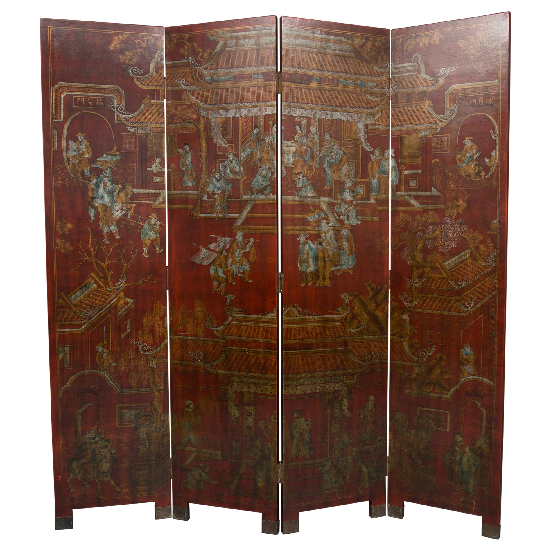 Chinese Red Lacquered Four Panel Folding Screen