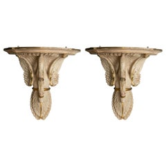 Pair of Swedish Painted Terracotta Swan Form Wall Brackets
