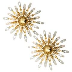 Pair of Stilkronen Crystal and Gilded Brass Italian Flush Mount Sconces