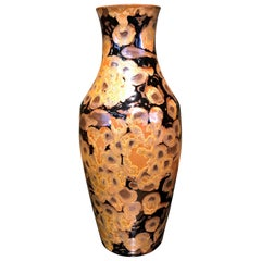 Japanese Hand Glazed Black Brown Porcelain Vase by Contemporary Imari Artist