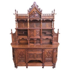 Antique Japanesse Hand Carved Elmwood Cabinet, Sideboard, Meiji, 20th Century