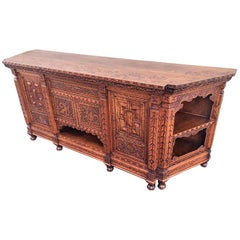 Antique Japanese Hand Carved Elmwood Cabinet, Sideboard, Meiji, 20th Century