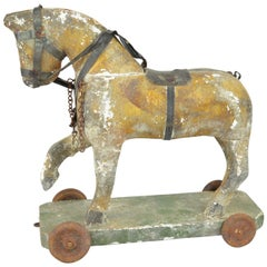 Antique Painted Wood Toy Horse