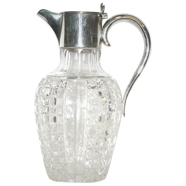 Antique Victorian Silver Handled Cut Glass Claret Jug, 1896