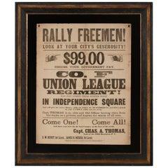 """Rally Freemen!..."" Civil War Recruitment Broadside"