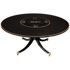 Large Circular Mid-20th Century Ebonized, Gilt and Painted Dining Table
