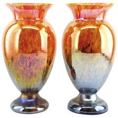 Antonin Rückl Pair of Blown Glass Vases, 1920s