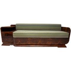 Art Deco Sofa in Walnut, 1930s, Bohemia
