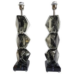 Pair of Silver Mirrored Murano Glass Lamps, Mid-Century Modern, Cenedese Style