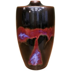 Japanese Red Black Hand-Glazed Porcelain Vase by Contemporary Master Artist