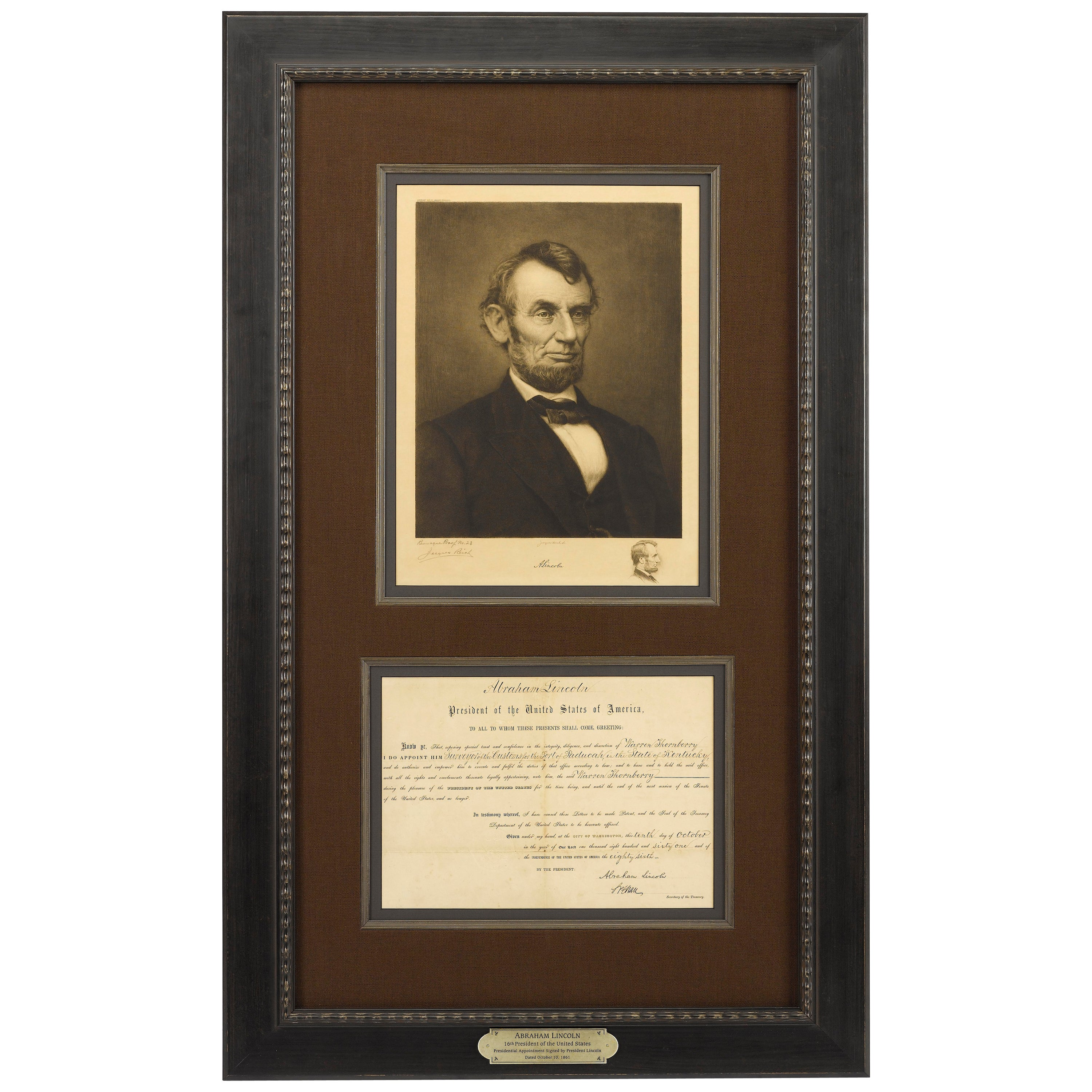 Abraham Lincoln Original Signed Presidential Appointment and Reich Etching, 1861